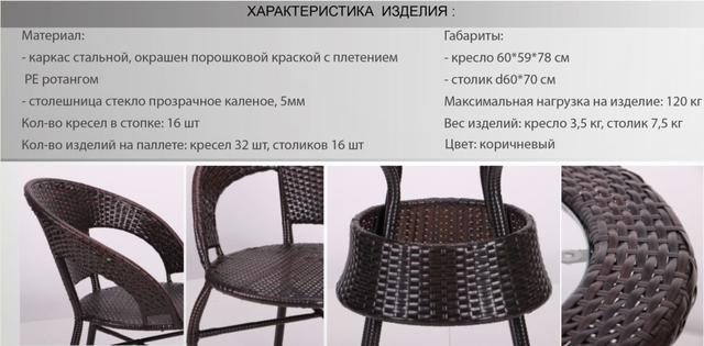 Кресло Catalina + стол Catalina ротанг коричневый (характеристики)