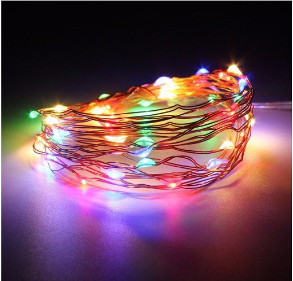 Светодиодная гирлянда нить 1м 10led на батарейках разноцветная RGB
