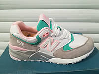 "Кроссовки женские New  Balance 999 ""White/Gray/Pink/Green"" реплика"