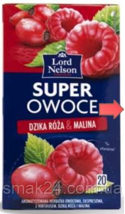Чай ягодный Lord Nelson Super Owoce  с малиной и шиповником 20 пакет. Польша