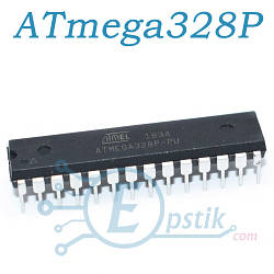 ATmega328P-PU, мікроконтролер 8бит, 20МГц, 32КБ Flash, DIP28