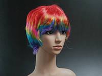 Парик женский карнавальный Короткий разноцветный