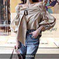 Оригинальная неповторимая блуза с открытыми плечами, пудра