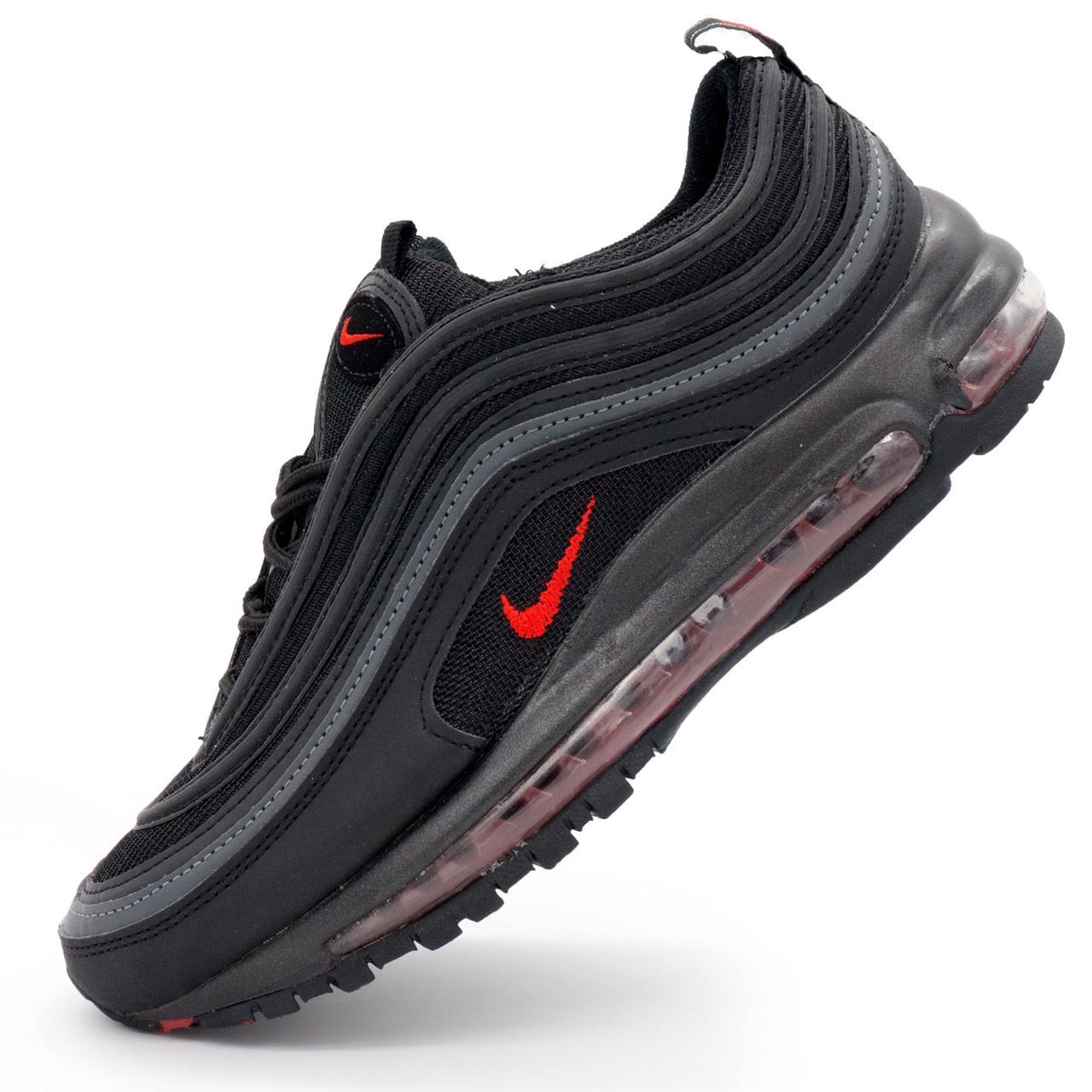 eebb6bcc Мужские кроссовки Найк Аир Макс Nike air max 97 черные р.(45), цена ...