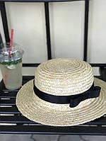 Соломенная шляпка. Канотье - с затяжкой, лента - черная, Поля 6см