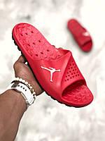 Мужские шлепанцы\сланцы Nike Jordan красные red (Реплика AAA+)