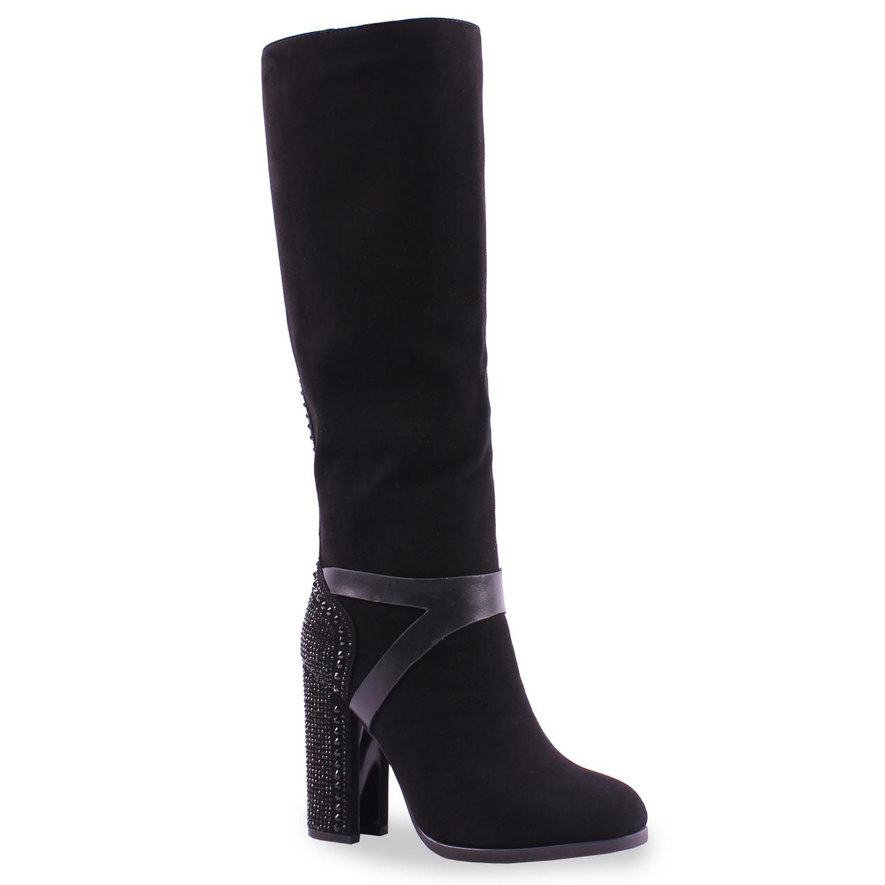 Стильные женские сапоги Deenoor (натуральная замша, зимние, вставка со стразами, на каблуке, удобные, теплые)