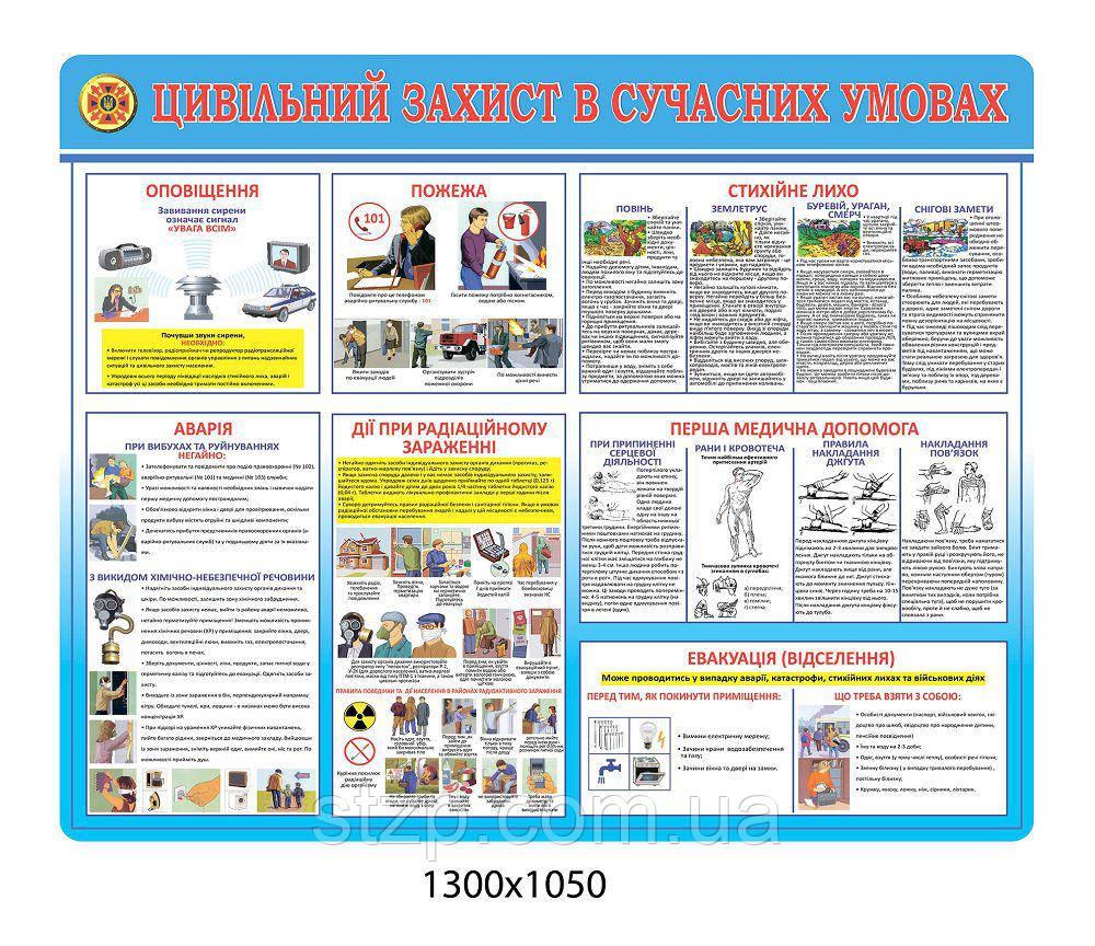 Стенд Гражданская защита в современных условиях (голубой)