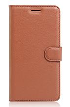 Кожаный чехол-книжка для ZTE Blade V7 Lite коричневый