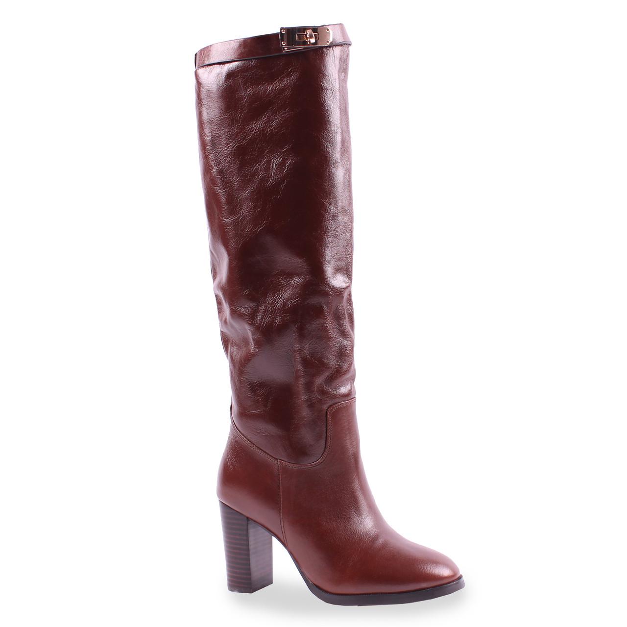 Модные женские сапоги Bosnova (зимние, натуральная кожа, удобный каблук, красивый цвет, теплые)