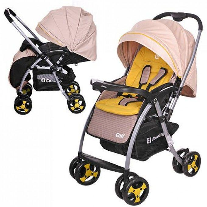Детская прогулочная коляска Golf бежевая (M 3429-15)