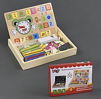 """Деревянная игра """"Обучающая Доска двухсторонняя"""", палочки, часы, цифры, мел в коробке"""