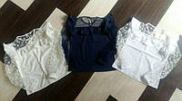 Школьная  блуза с прозрачными рукавами для девочки.