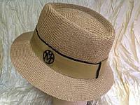 Шляпка канотье светло коричневая с лентой
