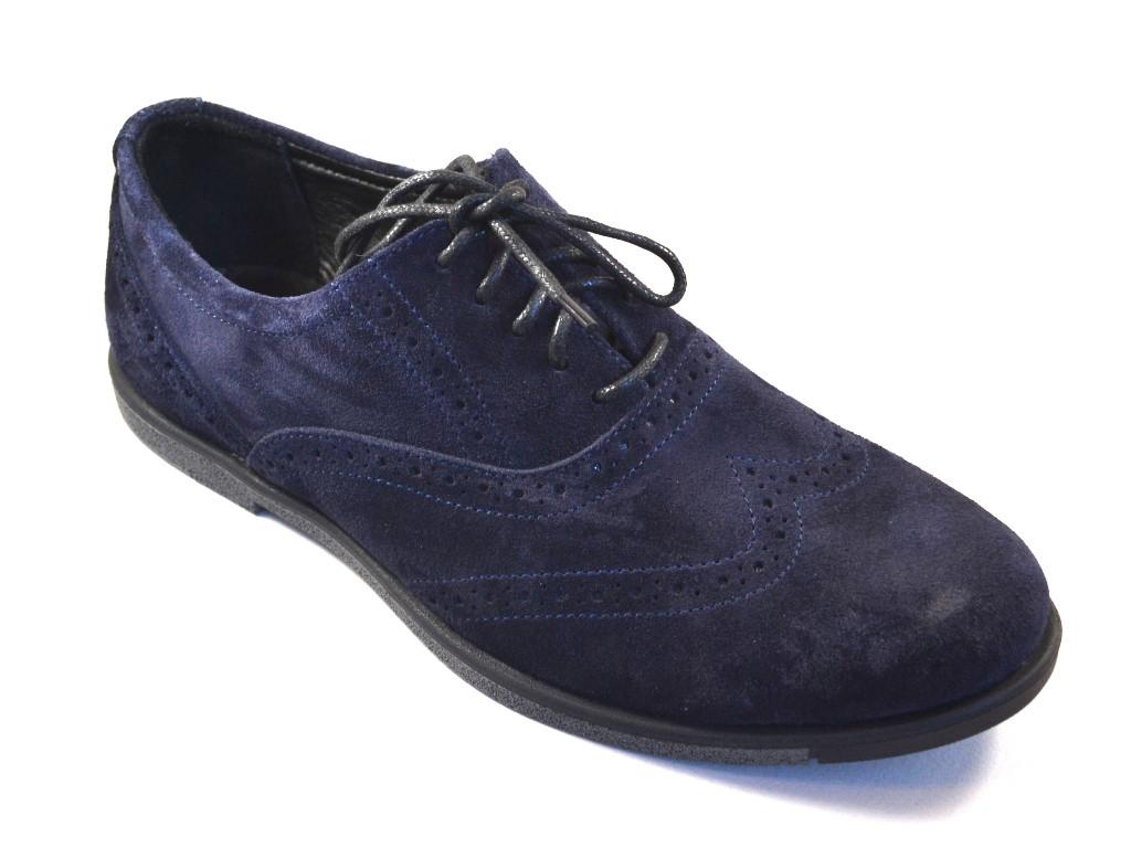 Большой размер туфли мужские замшевые броги синие Rosso Avangard BS Persona 18 Blu Vel