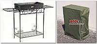 Мангал кованый садовый со съемными коробом (сталь 2мм), боковыми полками и чехлом-накидкой М31-2ч, фото 1