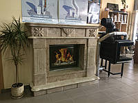 Каминный портал из мрамора (облицовка) Капучино с аппликацией*