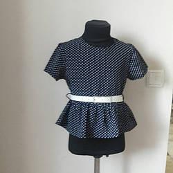 Шкільна синя блуза з ремінцем