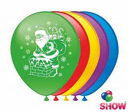 """Воздушные шарики """"Дед Мороз"""" 1 ст. шелкография 12"""" (30 см)  ТМ Show"""