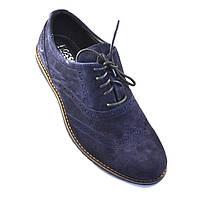 Легкі туфлі чоловічі сині замшеві комфортне взуття на кожен день Rosso Avangard Persona Breakage Blu Ve