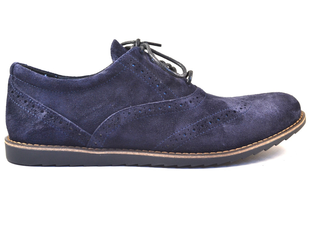 Большой размер легкие туфли броги мужские замшевые Rosso Avangard BS Persona Breakage Blu Vel синие, фото 1