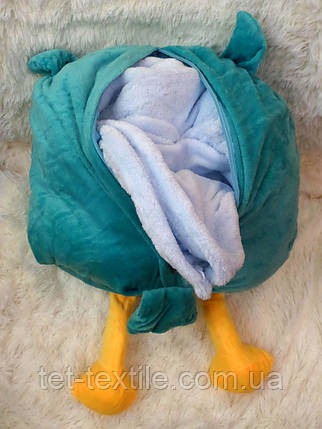 Плед - мягкая игрушка 3 в 1 (Сова бирюзовая), фото 2