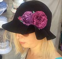 Черная льняная летняя женская шляпка