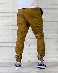 Хлопковые летние брюки джоггеры оливкового цвета \ горчичного