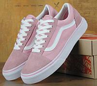 Женские кеды в стиле Van.s Old School Roses Pink/white. Живое фото (Реплика ААА+)