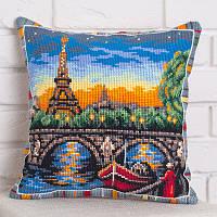 Набор для вышивания крестом Panna PD-1736 Подушка Прогулка вдоль Сены (Подушка)