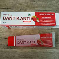 Зубной гель Дент Канти Фреш Актив Гель, Dant Kanti Toothpaste Fresh Active Gel Patanjali, 80 г