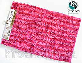 Набор из 2-х ковриков из микрофибры (Лапша розовая полоска) 80*50 см и 40*50 см (с вырезом)
