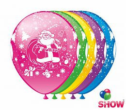 """Воздушные шарики """"Дед Мороз"""" 5 ст. шелкография 12"""" (30 см)  ТМ Show"""
