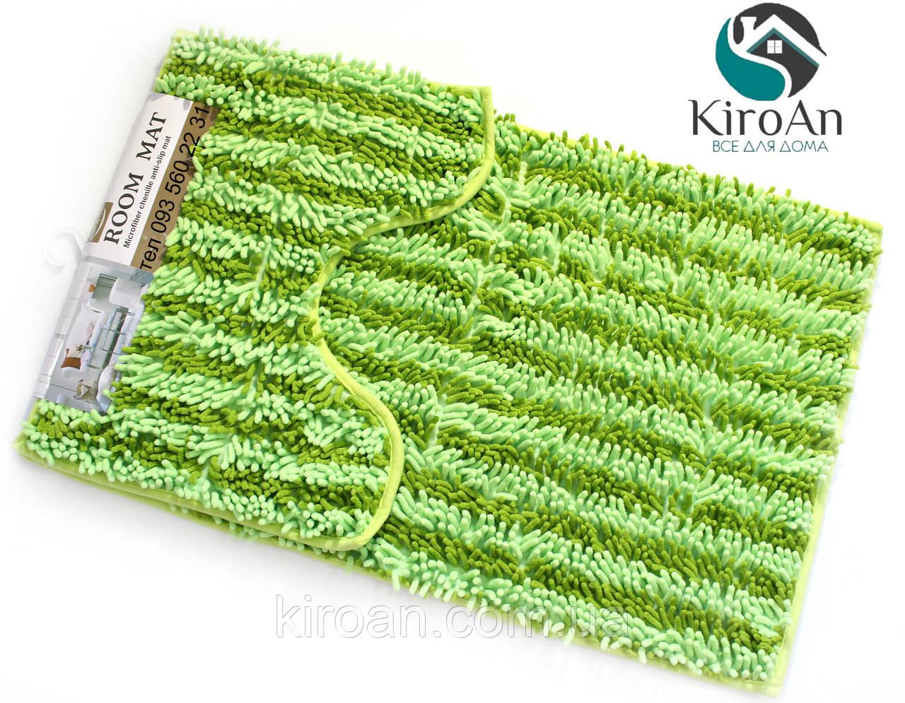 Набор из 2-х ковриков из микрофибры (Лапша зеленая полоска) 80*50 см и 40*50 см (с вырезом)