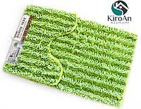 Набор из 2-х ковриков из микрофибры (Лапша зеленая полоска) 80*50 см и 40*50 см (с вырезом), фото 1