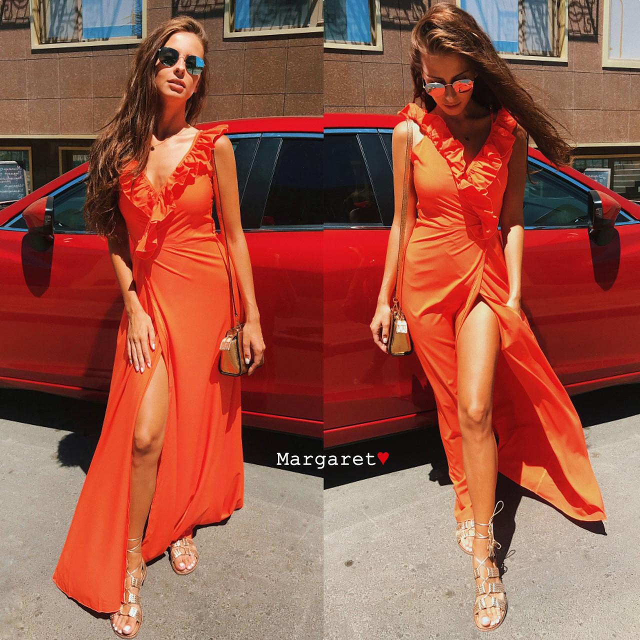 79ee04f208a Длинное летнее платье на запах с оборками (розовый