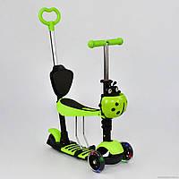 Самокат 5в1 А 24678 - 3050 Best Scooter САЛАТОВЫЙ, колеса PU светящиеся