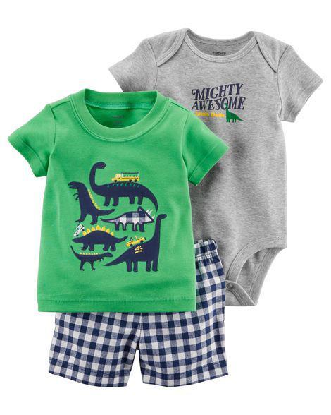 Комплект 3-од. з шортами динозаврики.