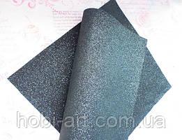 Екошкіра 19х23см. з дрібним чорним глітером