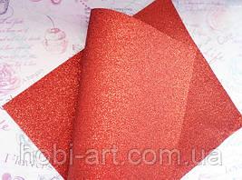 Екошкіра 19х23см. з дрібним червоним глітером