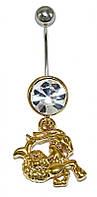 """Пирсинг в пупок фирмы Neoglory.Камень:белый фианит. Подвеска: знак зодиака """"Козерог"""" Высота: 4,5см.Ножка:1,5см"""