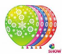 """Воздушные шарики """"Снежинка""""  5ст. шелкография 12"""" (30 см)  ТМ Show"""