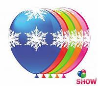 """Воздушные шарики """"Снежинки большие""""  5ст. шелкография 12"""" (30 см)  ТМ Show"""