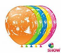 """Воздушные шарики """"Новогодний""""  шелкография 12"""" (30 см)  ТМ Show"""