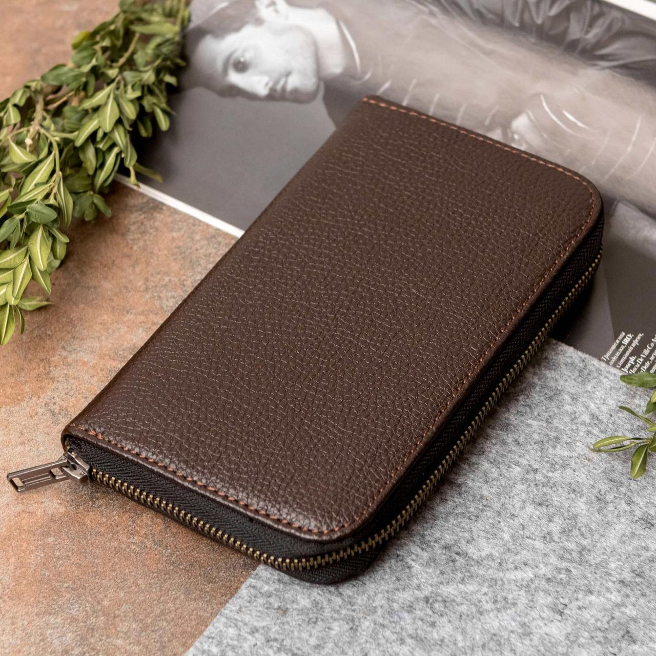 Кожаный кошелек-клатч Betterson BRUX Brown Flotar, коричневый