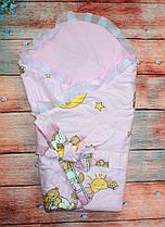 Конверт Одеяло для девочек и мальчиков весна лето осень 80х80см.  мишки на лестнице