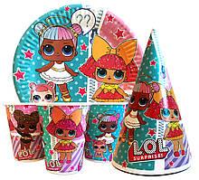 """Набор для детского дня рождения """" Куклы Лол """". Тарелки -10шт. Стаканчики - 10шт. Колпачки - 10шт."""