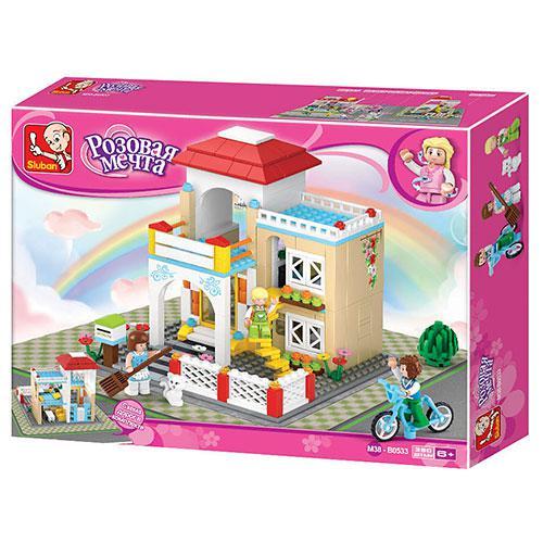 Конструктор SLUBAN M38-B0533 заміський будинок, фігурки, кіт, велосипед, 380 елементів, в коробці