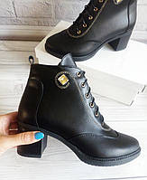 Кожаные ботинки на каблуке оптом, фото 1