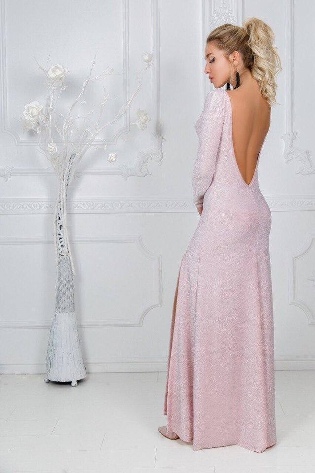 d2309d71722b4f2 Блестящее непревзойденное вечернее длинное платье в пол с люрексом и открытой  спиной -